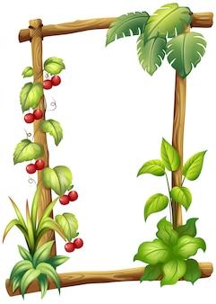 Una cornice in legno con piante di vite