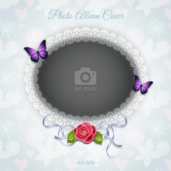 Una cornice romantica con una rosa