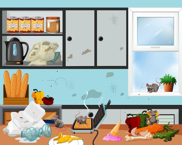 Una cucina disordinata e non familiare