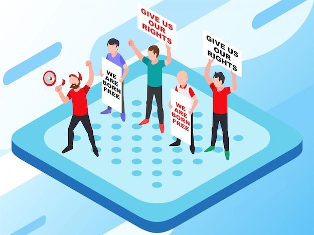 Una dimostrazione che protesta per il giusto problema umano con alcune persone che portano poster