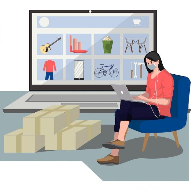 Una donna che compra nuovi oggetti dall'illustrazione online del negozio