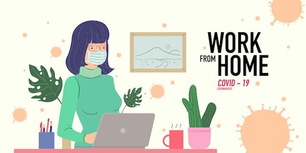 Una donna che lavora a casa prevenendo la pandemia di virus corona covid-19