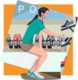 Una donna che sceglie le sue nuove scarpe all'illustrazione del deposito di scarpe