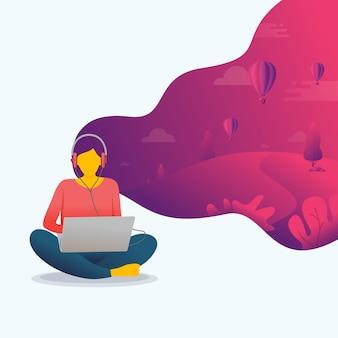Una donna che usa il portatile con la sua immaginazione
