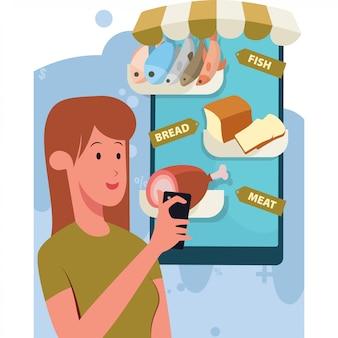 Una donna compra generi alimentari freschi tramite l'illustrazione del negozio online
