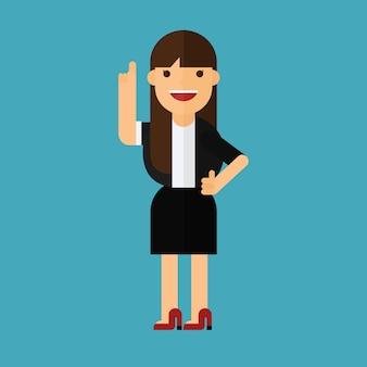 Una donna d'affari felice che punta il dito
