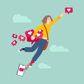 Una donna dipendente dai social media