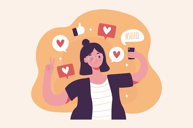 Una donna dipendente dall'illustrazione dei social media