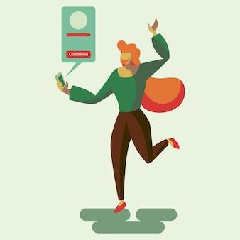 Una donna felice per ottenere un'illustrazione piana di notifica di conferma