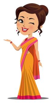 Una donna indiana in un sari sta ammiccando