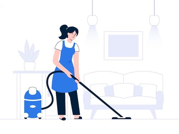 Una donna passa il tempo a casa a pulire la casa