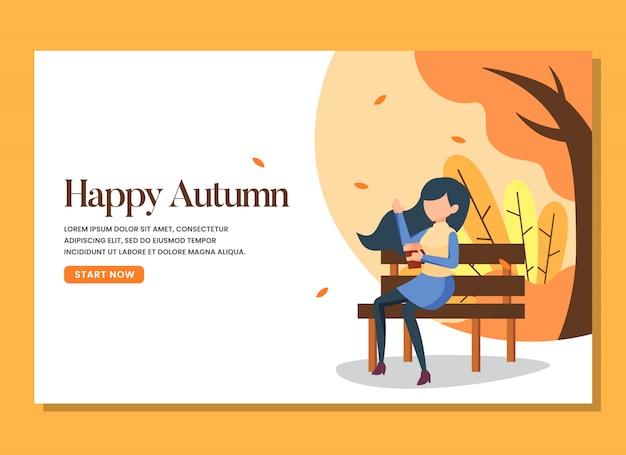 Una donna seduta in panchina nella calda pagina di atterraggio giorno d'autunno