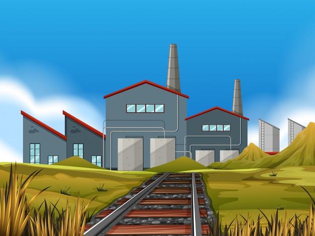 Una fabbrica nella scena della natura
