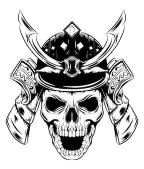 Una faccia di teschio con elmo samurai di illustrazione
