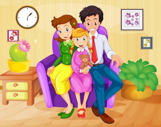 Una famiglia dentro casa