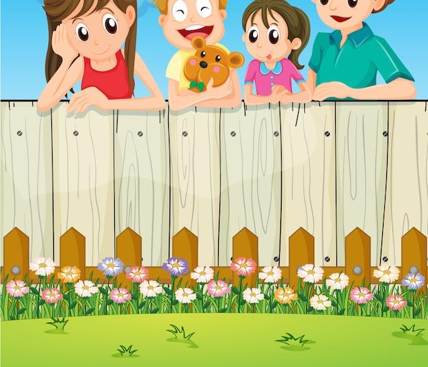 Una famiglia nel cortile di casa