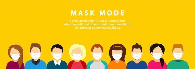 Una folla di persone mascherate. modalità maschera. quarantena. coronavirus.