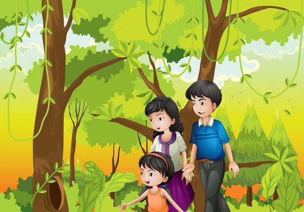Una foresta con una famiglia