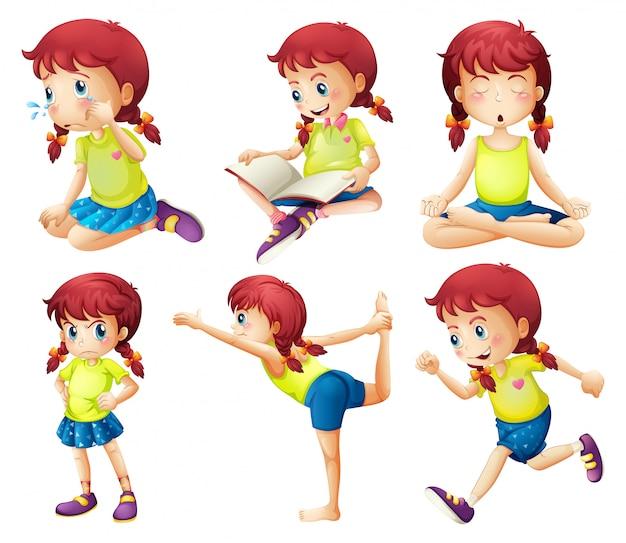 Una giovane donna che fa diverse attività