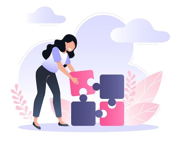 Una giovane donna riunisce pezzi del puzzle. soluzioni e risoluzione dei problemi. vector piatta illustrazione.