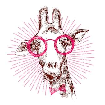 Una giraffa alla moda hipster.