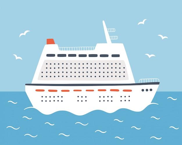 Una grande nave da crociera naviga sul mare. viaggia su un transatlantico. disegnato a mano