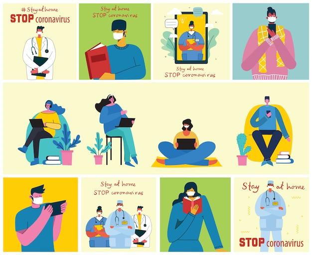Una grande serie di poster si lava le mani, l'igiene, l'assistenza sanitaria. resta a casa. proteggere dal concept design del coronavirus. illustrazioni vettoriali moderni in stile moderno piatto.