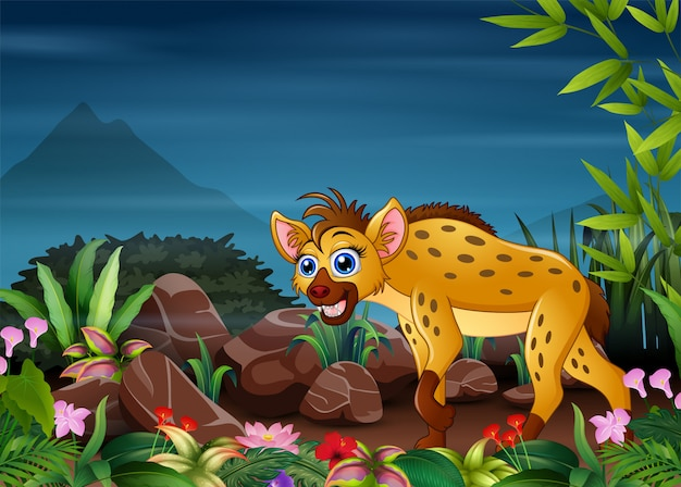 Una iena in cerca di prede di notte