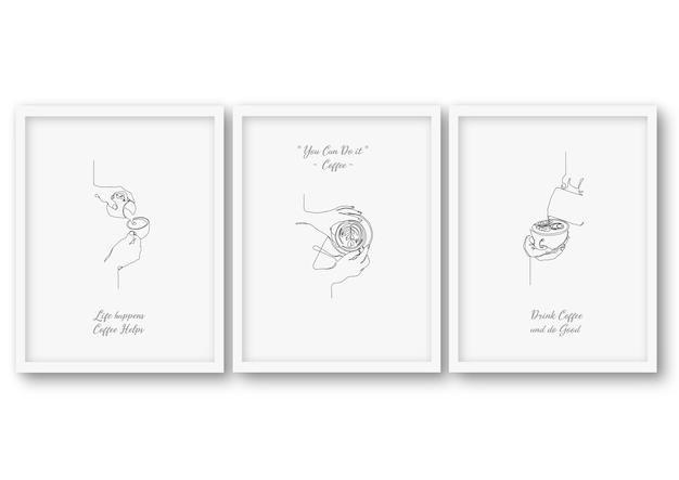 Una linea set da caffè, poster illustrazione stock
