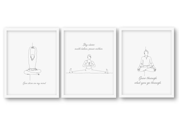 Una linea yoga pose imposta illustrazione
