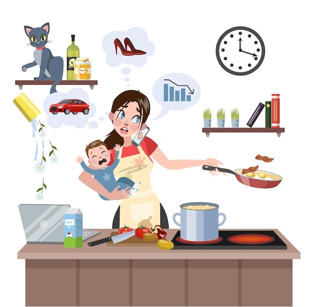 Una madre impegnata e multitasking con il bambino non è riuscita a fare molte cose contemporaneamente. donna stanca nello stress con disordinato intorno. stile di vita casalinga. illustrazione