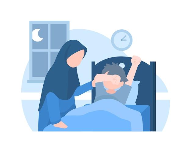 Una madre sveglia suo figlio nel mezzo della notte