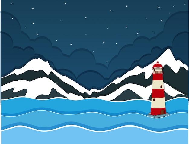 Una montagna di neve sopra la vista sull'oceano