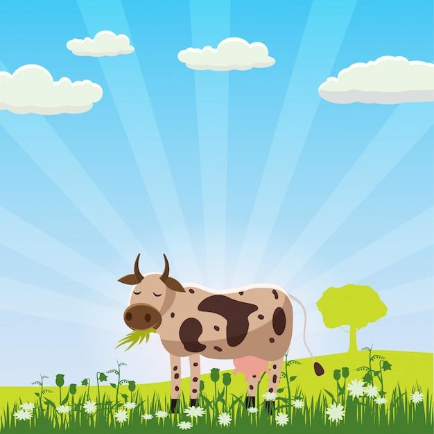 Una mucca pascola in un prato che mangia erba in un paesaggio, stile cartone animato, illustrazione vettoriale