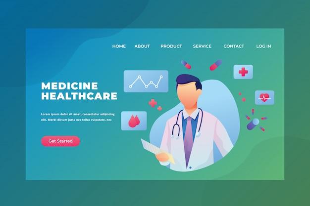 Una pagina di destinazione dell'intestazione della pagina web di medicina e sanità