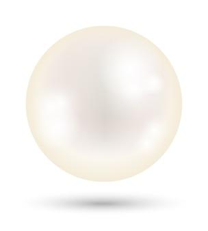 Una perla bianca brillante su uno sfondo bianco