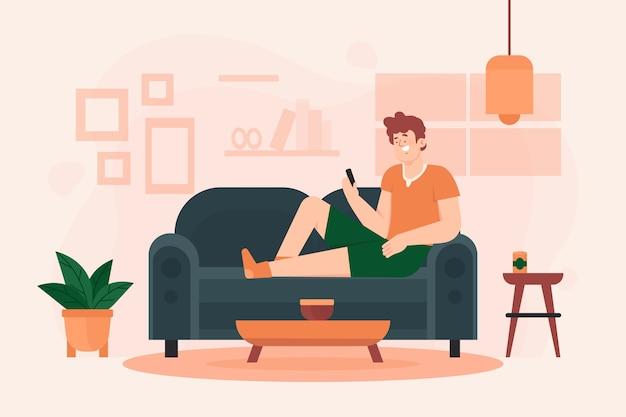 Una persona che si rilassa a casa illustrazione