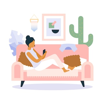 Una persona che si rilassa a casa