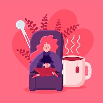 Una persona con il raffreddore illustrata
