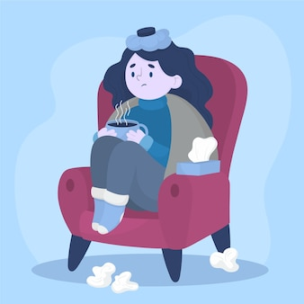 Una persona con un'illustrazione fredda