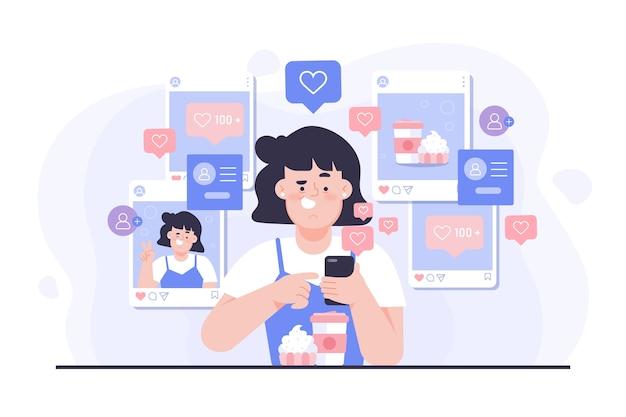 Una persona dipendente dai social media