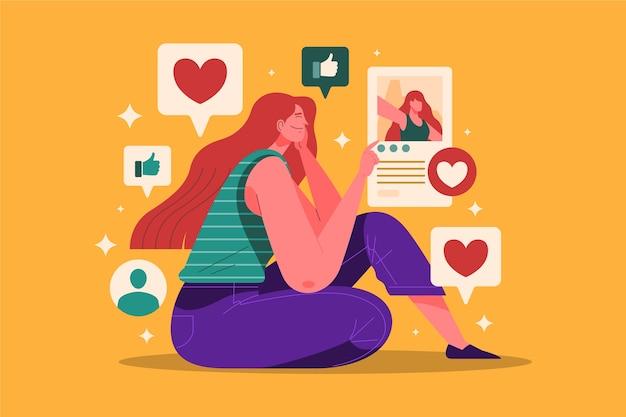 Una persona dipendente dall'illustrazione dei social media