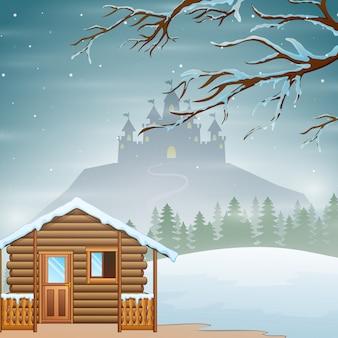Una piccola casa in legno e un castello silhouette sulla collina