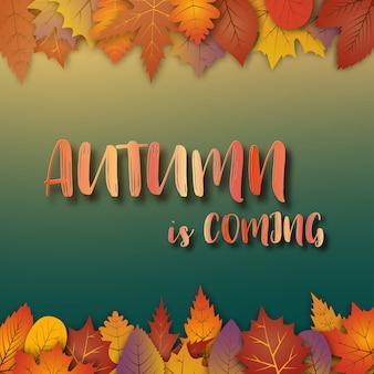 Una priorità bassa artistica di tema astratto di autunno. foglie di autunno su carta bianca.