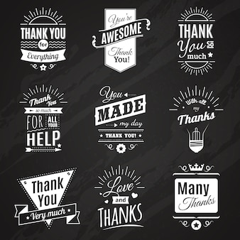 Una raccolta della lavagna di nove segni d'annata di ringraziamento che fanno nello stile differente del carattere stile