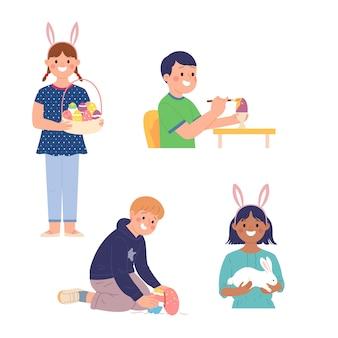 Una raccolta di illustrazioni per bambini che celebrano le vacanze di pasqua con attività divertenti