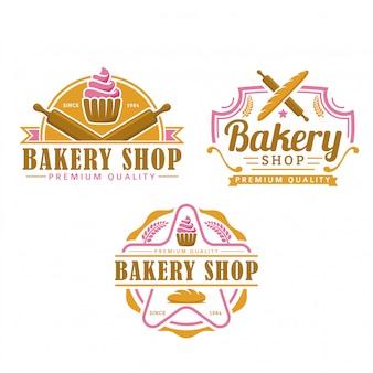 Una raccolta di modelli di logo di panetteria, set di prodotti da forno, pacchetto logo stile retrò vintage