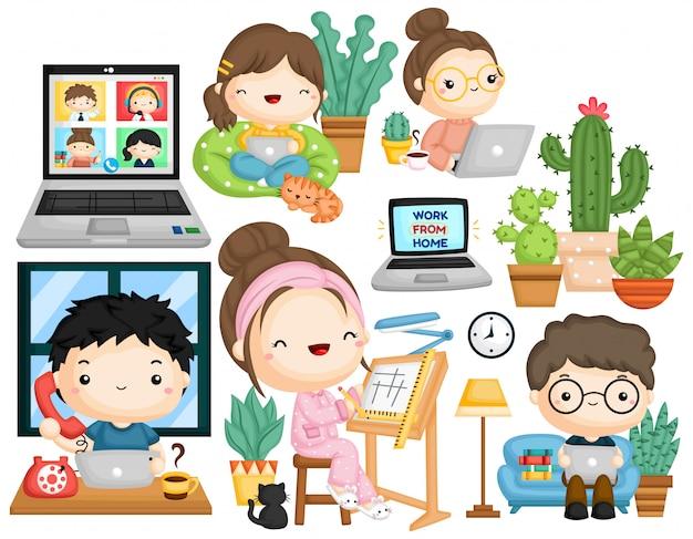 Una raccolta vettoriale di lavorare da casa