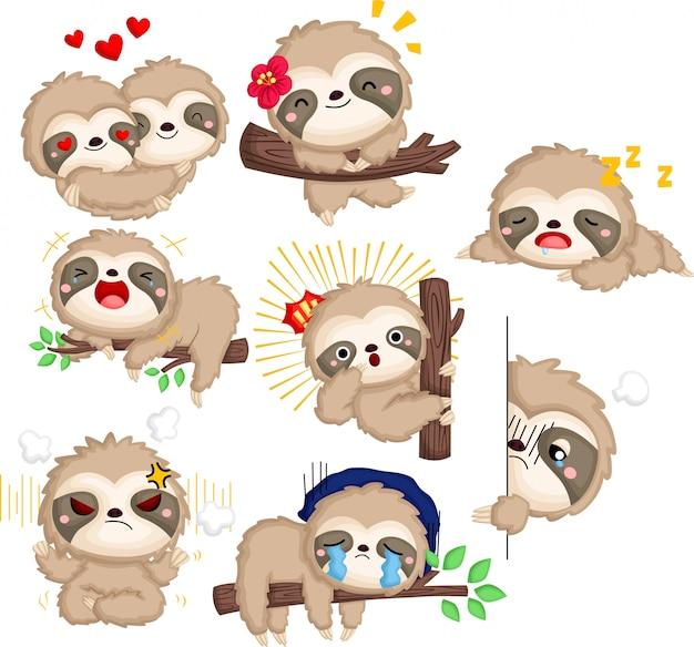 Una raccolta vettoriale di molte emozioni di bradipo in colore bianco e nero