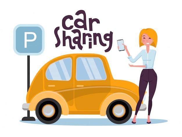 Una ragazza bionda ha trovato un'auto a noleggio tramite un'applicazione mobile al telefono.